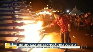 Está marcada pra hoje a perícia na fogueira que explodiu e feriu o prefeito de Osasco - Além do prefeito Rogério Lins, a primeira-dama e outras 3 pessoas ficaram feridas.