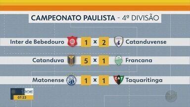 Confira resultados dos times da região de Ribeirão Preto na 4ª Divisão do Paulista - Inter de Bebedouro, Francana e Taquaritinga entraram em campo no final de semana.