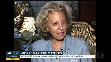 Morre Marlene Mateus, única mulher a presidir o Corinthians - Ela tinha 82 anos e foi a presidente do clube entre 1991 e 1993.