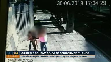 Mulheres roubam bolsa de idosa de 81 anos em Maringá - A idosa teve documentos, dinheiro e pertences pessoais roubados, o crime foi no último domingo e câmeras de segurança flagraram o crime.