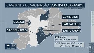Vacinação contra o sarampo será ampliada para mais cinco cidades - Serão incluídas as cidades de Guarulhos, Osasco, São Bernardo do Campo e Santo André, onde há circulação do vírus.