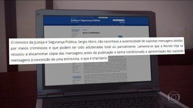 Ministro Sergio Moro contesta teor da reportagem de revista - Ministro da Justiça e Segurança Pública, Sergio Moro, diz não reconhecer autenticidade das mensagens e que há uma 'tentativa de invalidar condenações por corrupção'.