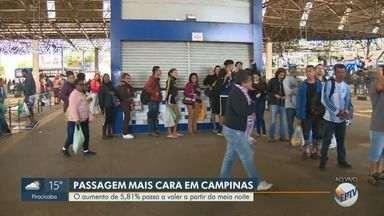 Passagem de ônibus em Campinas fica mais cara a partir deste domingo (7) - O aumento de 5,81% passa a valer a partir da meia noite. Tarifa do transporte público passa a ser R$ 4,55.