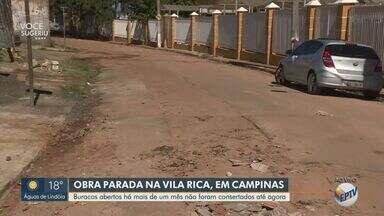 Moradores do Vila Rica reclamam das más condições do bairro - Segundo a população, Prefeitura fez uma obra e buracos foram deixados.