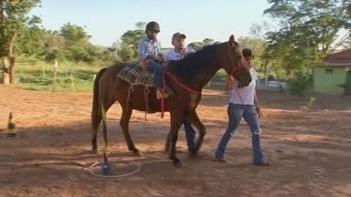 Equoterapia ajuda no tratamento de crianças com deficiências em Valparaíso - A iniciativa de uma família em Valparaíso (SP) está ajudando crianças e adultos com deficiência. Os voluntários oferecem terapia com cavalos de graça.