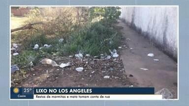 Moradores reclamam de lixo no Jardim Los Angeles - Restos de marmitas e mato tomam conta da rua.