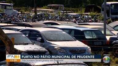 Três pessoas são presas por furtar peças de veículos no Pátio Municipal - Caso foi registrado nesta segunda-feira (8), em Presidente Prudente.
