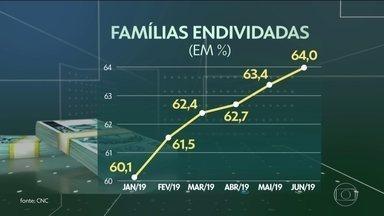 Total de famílias endividadas aumenta pelo sexto mês consecutivo, diz CNC - Índice em junho chegou a 64%, o maior nível desde julho de 2013. Em junho de 2018, menos de 59% das famílias estavam endividadas.