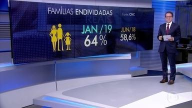Percentual de famílias endividadas aumenta pelo sexto mês consecutivo - De acordo com o levantamento da Confederação Nacional do Comércio, é o cartão de crédito que encabeça a lista das dívidas das famílias.