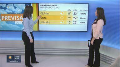 Saiba como fica o tempo nesta quarta-feira nas cidades da região - Sol brilha forte em São Carlos e São João da Boa Vista.