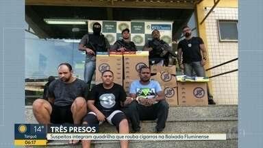 Três suspeitos de roubo de carga são presos na Baixada - Eles tinham acabado de praticar um assalto.