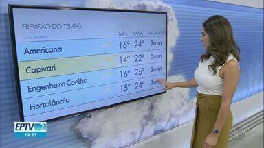 Confira a previsão do tempo para as cidades da região - Nova frente fria se aproxima e pode provocar chuva. Em Campinas, máxima é de 24ºC nesta terça (16), com previsão de 2mm de chuva.