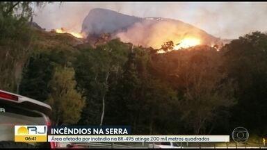 Incêndio atinge área de 200 mil metros quadrados em Petrópolis - Fogo foi controlado pelo bombeiros.