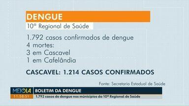 Idosa de Ubiratã morre por causa da dengue no Paraná - Segundo a Secretaria Estadual de Saúde, na 10ª Regional de Saúde já são 1.792 casos confirmados da doença.