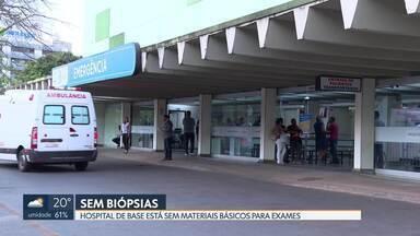 Pacientes reclamam que faltam materiais básicos no Hospital de Base para fazer biópsias - Segundo eles, faltam agulhas, navalhas e xilol - um solvente usado no laboratório.