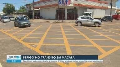 Macapá vai receber 10 'yellow boxes' em cruzamentos de grande fluxo - Sinalização horizontal serve para evitar conflito de veículos. Previsão é que, até o fim do ano, vias do Centro da capital sejam sinalizadas, informou a CTMac.