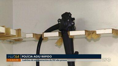 Polícia prende quatro suspeitos de furtar equipamentos do HU em Londrina - Uma brasileira e três colombianos foram identificados por imagens de câmeras de monitoramento do hospital.