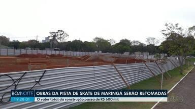 Obras da pista de skate de Maringá serão retormadas, diz prefeitura - O valor total da construção passa de R$ 600 mil