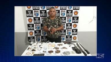 Homem é preso em Igarapé-MA por tráfico de drogas - Além de droga, a polícia apreendeu arma de fogo na residência do suspeito de tráfico.