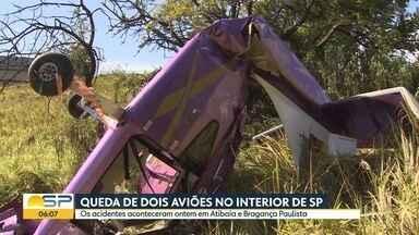 Avião e ultraleve caem no interior do Estado - Na manhã de domingo, um avião caiu em Atibaia. À tarde, o ultraleve caiu na cidade vizinha, em Bragança Paulista.