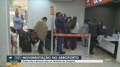 Aeroporto de Chapecó registra poucos voos e preços altos das passagens - Aeroporto de Chapecó registra poucos voos e preços altos das passagens