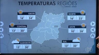 Confira a previsão do tempo para Goiás - Sol aparece entre poucas nuvens em todas as regiões do estado. Na parte da manhã, temperaturas devem ficar um pouco mais baixas.