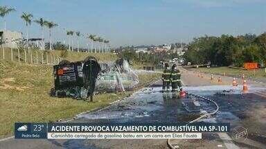 Acidente provoca vazamento de combustível e interdita SP-101 - Dois caminhões bateram na altura de Elias Fausto. Ninguém ficou ferido.