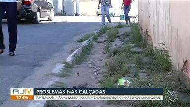 Em Resende e Barra Mansa, pedestres reclamam dos buracos e má conservação das calçadas - Falta espaço e sobra problemas, principalmente para quem usa cadeira de rodas.
