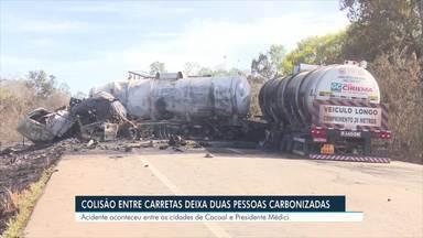 Duas pessoas morrem em acidente na BR-364 - Caminhões colidiram de frente próximo a Cacoal.