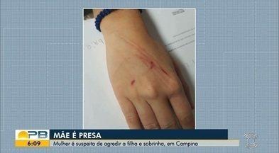 Mulher é presa suspeita de agredir filha e sobrinha com vassoura em Campina Grande - Professora das crianças percebeu ferimentos e acionou Conselho Tutelar e polícia.