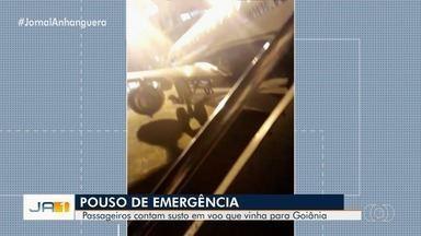 Passageiros relatam tensão após avião que seguia para Goiânia atingir pássaro no RJ - De acordo com os passageiros, eles escutaram o estrondo cerca de cinco minutos depois da decolagem.