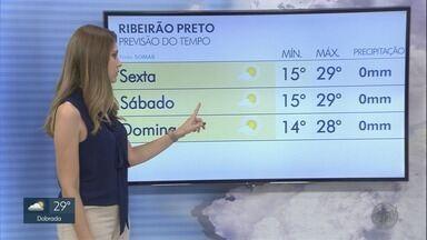 Confira a previsão do tempo para sexta-feira (26) na região de Ribeirão Preto - Temperatura deve chegar a 31ºC em alguns municípios.