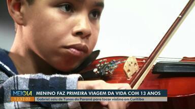 Através da música, menino sai do interior do Paraná e conhece novos lugares e pessoas - Gabriel tem 13 anos e pela primeira vez saiu de Tunas do Paraná para tocar violino em Curitiba.
