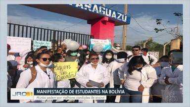 Manifestação de estudantes na Bolívia - Estudantes pedem por melhores condições de ensino.