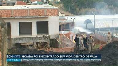 Bombeiros encontram corpo ao apagarem incêndio em Guarapuava - Corpo era de um homem e estava caído dentro de uma vala, em terreno no Bairro dos Estados.