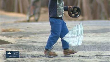 Risco de soltar pipas vai além das linhas com cerol nas cidades - Em Franca, SP uma criança de 5 anos foi atropelada ao atravessar a rua para pegar o objeto. Já em Ribeirão Preto, adolescente recebeu descarga elétrica ao tentar pegar brinquedo preso em poste de energia.