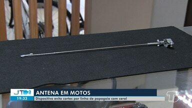 Dispositivo evita cortes por linha de papagaio com cerol - Antena colocada em motos para evitar acidentes.