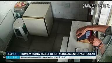 Polícia prende homem suspeito de furtar tablet de estacionamento particular em Maringá - Câmera de segurança registrou o momento do furto. Segundo a polícia, o aparelho foi vendido a R$ 20,00
