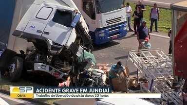 Acidente grave em Jundiaí - Trabalho de liberação da pista durou 20 horas.