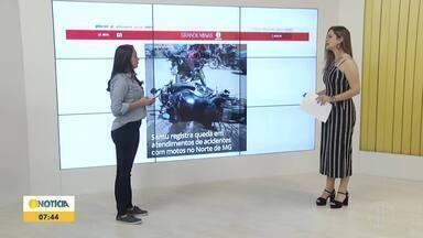Confira os destaques do G1 nesta quarta-feira (31) - Samu registra queda em atendimentos de acidentes envolvendo motocicletas no Norte de Minas.