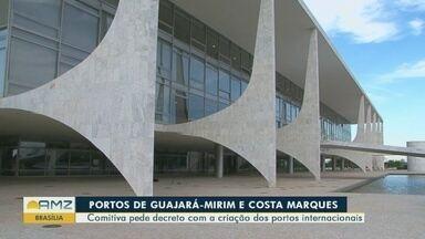 Presidente Jair Bolsonaro recebe comitiva de Rondônia, em Brasília - Comitiva pede decreto com a criação dos portos internacionais.