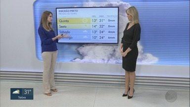 Veja a previsão do tempo para esta quarta-feira (31) na região de Ribeirão Preto - Termômetros podem chegar aos 32°C.