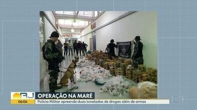 Operação na Maré apreende cerca de 2 toneladas de drogas - A operação contou com cães farejadores e houve confronto. Dois suspeitos foram baleados.