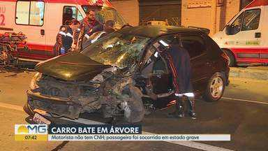 Motorista sem CNH bate em árvore na Avenida Pedro II; passageira ficou gravemente ferida - Acidente foi durante a madrugada desta quinta-feira (1º).