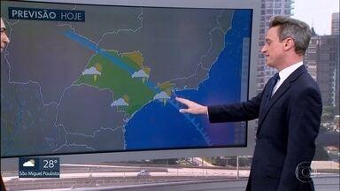 Frente fria traz chuva pra Grande SP a partir do fim da tarde de hoje (2) - No fim de semana, as temperaturas despencam e tempo fica chuvoso