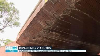 Motoristas reclamam da falta de manutenção de pontes e viadutos - Novacap diz que tem quase R$ 11 milhões para reparos. Obras devem ser concluídas em um ano.