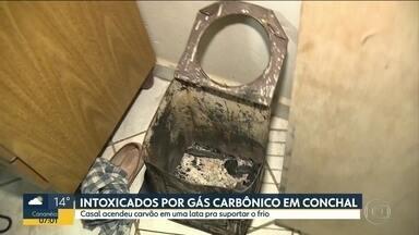 Casal intoxicado por gás carbônico dentro de casa - Eles acenderam carvão em uma lata para aquecer o quarto numa chácara no interior.