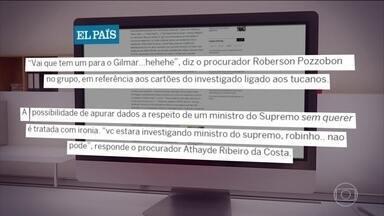 Site publica novas mensagens atribuídas a procuradores da Lava Jato - Segundo as mensagens publicadas pelo El Pais Brasil, em parceria com o Intercept, os procuradores da força tarefa fizeram um esforço para coleta de informações sobre o ministro do Supremo Tribunal Federal Gilmar Mendes.