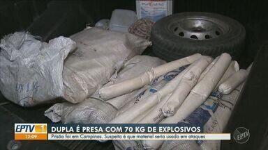 Polícia detém dupla com 70 quilos de explosivos e detonadores em Campinas - Explosivos deveriam ser usados em ataques contra caixas eletrônicos e carros-fortes, diz polícia.