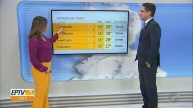Confira a previsão do tempo para a região de Campinas neste final de semana - Veja a temperatura prevista para o domingo de dia dos pais na região.